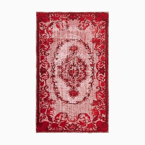 Red Anatolian Hand Knotted Wool Overdyed Carpet