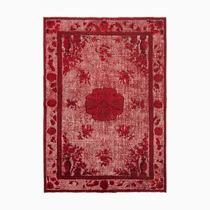 Red Oriental Handwoven Carved Overdyed Carpet