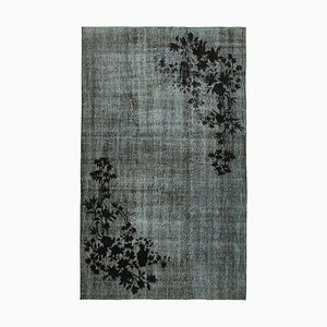 Vintage Black Hand Knotted Wool Overdyed Carpet