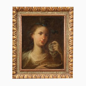 Antique Italian Portrait of Diana Painting, 18th-Century