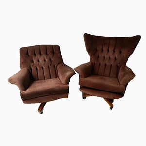 The Sixty Two 6250 Worlds Most Comfortable Egg Swivel & Rocking Armchairs from G-Plan, 1962, Set of 2