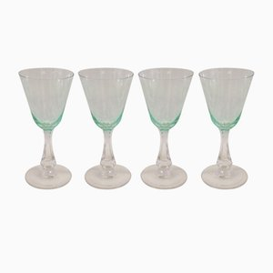 Antique Green Clemens White Wine Glass Set from Holmegaard, 1900s, Set of 4