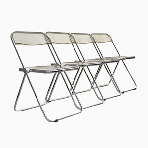Plia Folding Chairs by Giancarlo Piretti for Castelli / Anonima Castelli, 1970s, Set of 4