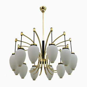 Mid-Century Modern Brass and Opaline Glass 12-Light Chandelier from Stilnovo, Italy, 1950s