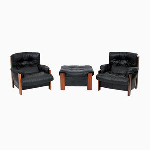 Rosewood Armchairs & Ottoman Set by Tobia & Afra Scarpa for Maxalto, 1980s, Set of 3