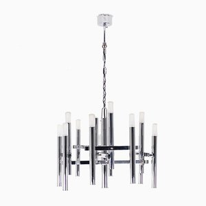Chrome 12-Light Chandelier by Gaetano Sciolari, 1970s