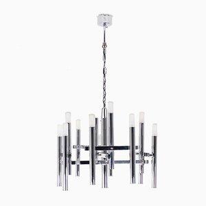 Lámpara de araña cromada de 12 luces de Gaetano Sciolari, años 70