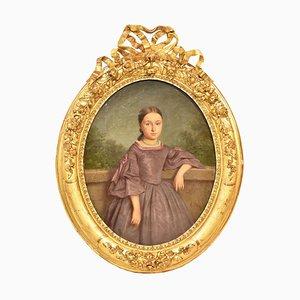 Portrait de Jeune Femme, 19ème Siècle, Huile sur Toile