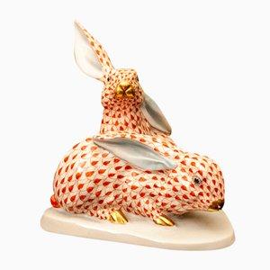Coniglietti dipinti a mano di Herend, anni '70, in porcellana