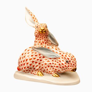 Hand-Painted Bunnies from Herend, 1970s, Porcelain