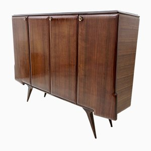 Mid-Century Italian Rosewood & Brass Highboard with Mirror, 1950s