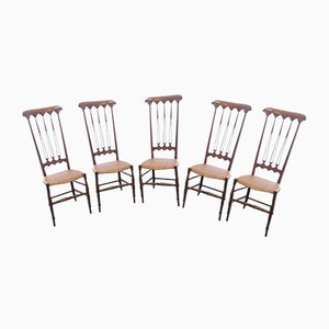 Chiavarine Model Three Swords Dining Chairs by A. Gatti for Chiavari, 1950s, Set of 5