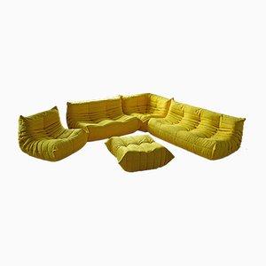 Gelbes Togo Wohnzimmer Set aus Mikrofaser von Michel Ducaroy für Ligne Roset, 1970er, 5er Set