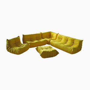 Yellow Microfiber Togo Living Room Set by Michel Ducaroy for Ligne Roset, 1970s, Set of 5