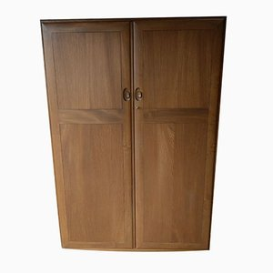 Vintage Solid Wood Double Wardrobe with Drawers & Tie Rail on Castors from Ercol