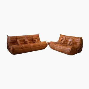 Dubai Pine Leather Togo 2-Seat & 3-Seat Sofa Set by Michel Ducaroy for Ligne Roset, 1970s, Set of 2