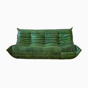 Vintage Green Leather 3-Seat Togo Sofa by Michel Ducaroy for Ligne Roset