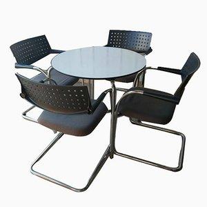 Table Ronde et Chaises de Salle à Manger ou de Bureau Visa VIS Cantilever de Vitra, Set de 5