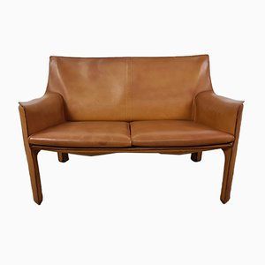 Tan Leather CAB 414 2-Seat Sofa by Mario Bellini for Cassina, 1980s