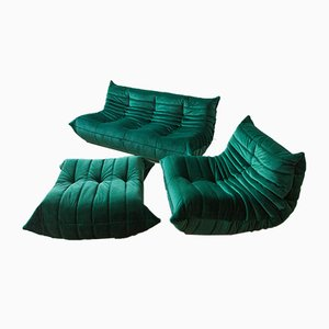 Vintage Green Velvet Togo Living Room Set by Michel Ducaroy for Ligne Roset, 1970s, Set of 5