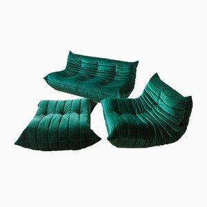 Vintage Green Velvet Togo Wohnzimmer Set von Michel Ducaroy für Ligne Roset, 1970er Jahre, 5er Set
