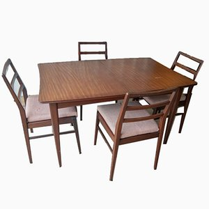 Mid-Century Curved Extendable Dining Table & Chairs Set by Richard Hornby for Heals, Set of 5
