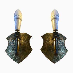 Shield-Shaped Brass Sconces in Gothic Revival, 1960s, Set of 2