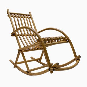 Vintage Rattan and Bamboo Rocking Chair, 1970s