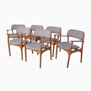 Oak Model 49 Dining Chairs by Erik Buch for Odense Maskinsnedkeri / O.D. Møbler, 1960s, Set of 6
