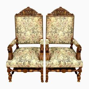 Renaissance Solid Oak Lounge Chairs, 1850s, Set of 2