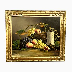 Ch. Leroy, French School Grapes and Peaches Still Life, Oil On Canvas