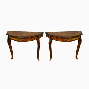 Louis XV Marquetry Floral Console Tables, 1920s, Set of 2