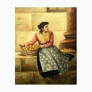 French School Fruit Merchant, Oil on Canvas, 1896
