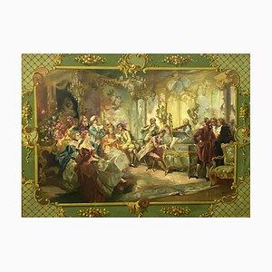 Grande école française, représentant un salon de concert au XVIIIe siècle, années 1900, huile sur toile