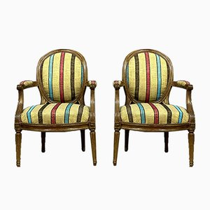 Louis XVI Natural Wood Armchairs, Set of 2