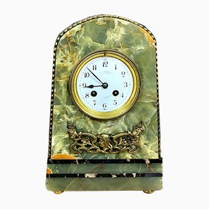Antique Art Nouveau Green Marble and Bronze Clock