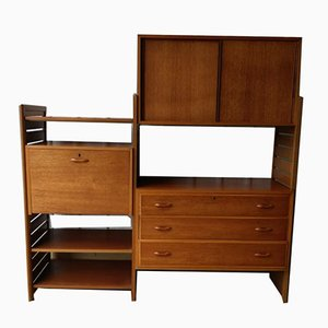 Ladderax 2 Bay Wall Shelving Storage Unit Cabinet Desk by Robert Heal for Staples Cricklewood