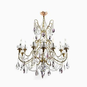 Golden Chandelier with Crystals, 1950s