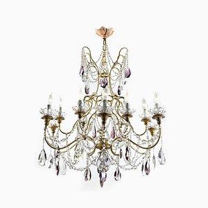 Goldener Kronleuchter mit Kristallen, 1950er