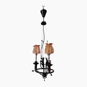 Vintage Wrought Iron Chandelier with Beaded Lampshades