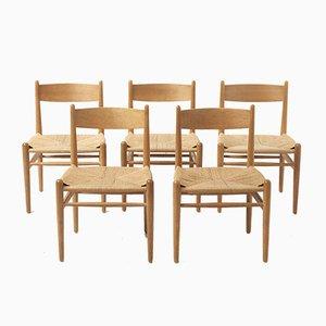 Sedie da pranzo CH36 di Hans J. Wegner per Carl Hansen & Søn, anni '60, set di 5