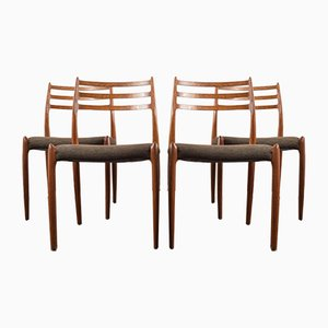 Modell 78 Teak Esszimmerstühle von Niels Otto Møller für JL Møllers, 1960er, 4er Set