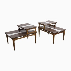 Mid-Century Modern Two-Tier End Cocktail Coffee Tables, 1960s, Set of 2