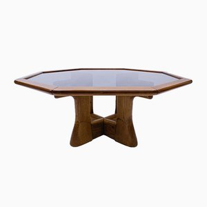 Octagonal Coffee Table with Smoked Glass Top, 1960s