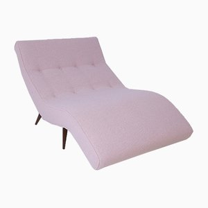 American Pink Boucle and Wood Chaise Lounge, 1950s