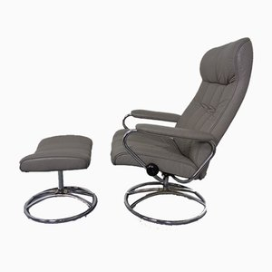 Extendable Norwegian Stressless Leather Easy Chair and Ottoman from Ekornes, 1970s, Set of 2