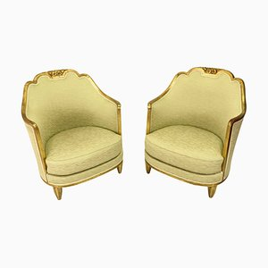 Art Deco French Lounge Chairs, 1930s, Set of 2