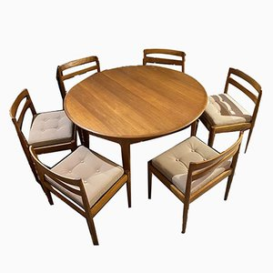 Teak Dining Table & Chairs Set by Magnus Olesen, 1960s, Set of 7