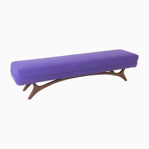 Vladimir Kagan Style Bench in Purple Bouclé, 1950s