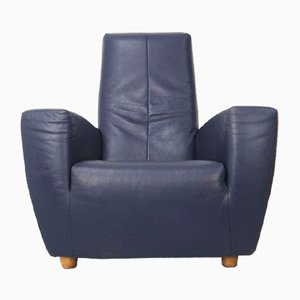 Vintage Blue Leather Lounge Chair by Gerard van den Berg for Label, 1990s